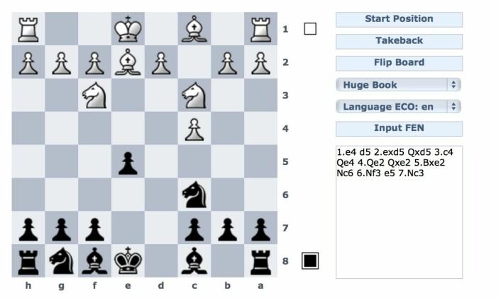 Uff, hvorfor spilte jeg ikke løperen til f5 her? Men det virket så naturlig med hesten til f6 først. Og plutselig satt det en hvit hest på b5.