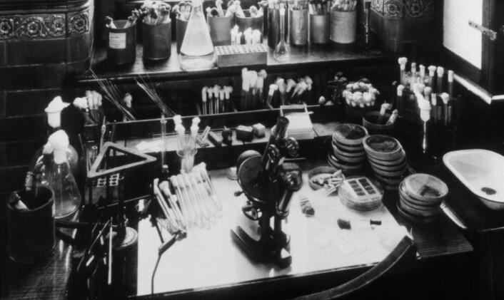 Alexander Flemings laboratorium på St Mary's Hospital, slik det så ut i 1928 da han oppdaget penicillinet. Laboratoriet er nå museum, og gjenopprettet slik det var den gangen. (Foto: Science Photo Library)