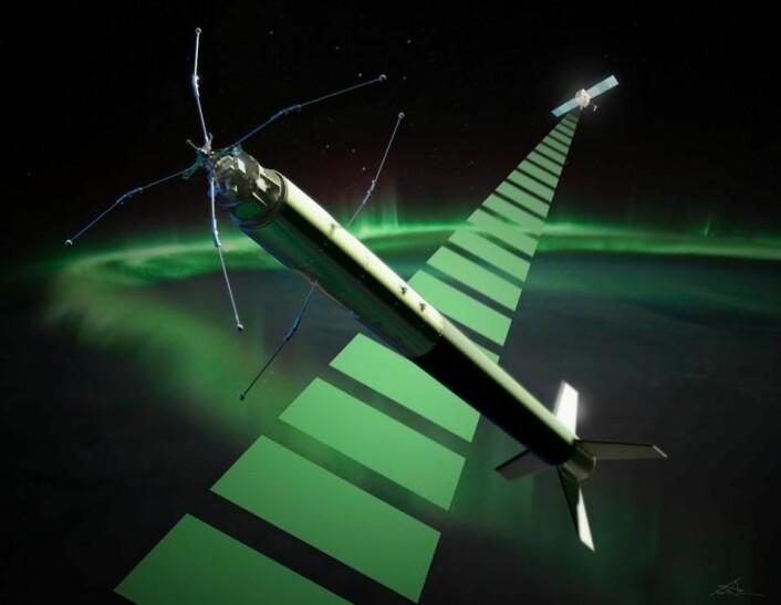 Den norske sonderaketten ICI-4 skytes opp mellom 9. til 22. februar 2015 fra Andøya, og skal forske på romvær. (Foto: (Illustrasjon: Trond Abrahamsen/Andøya Space Center))
