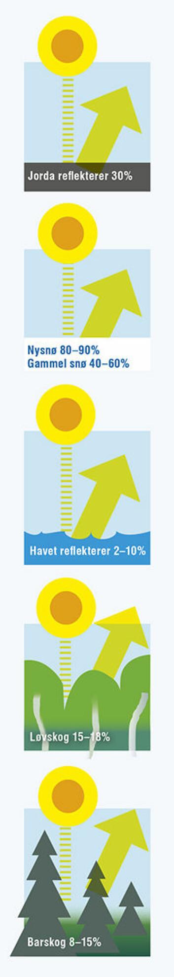 Lyse flater på jorda reflekterer mer av sollyset enn mørke flater. Jordkloden absorberer 70 prosent av sollyset. De resterende 30 prosentene reflekteres tilbake til verdensrommet. Løvskog reflekterer mer sollys enn barskog. Nysnø reflekterer mer sollys enn gammel snø. (Foto: (Illustrasjon: UiO))