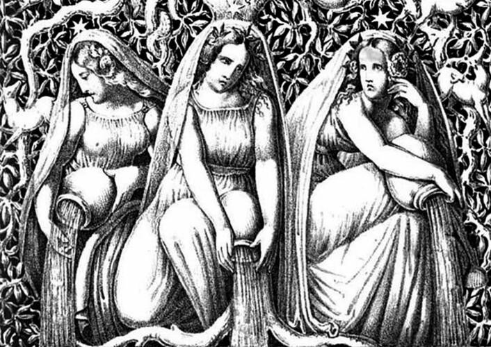 Urd, Verdande og Skuld er i nordisk mytologi et kollektiv av tre skjebnegudinner, også kalt norner. De sitter i Åsgård ved røttene til verdenstreet Yggdrasil. En av oppgavene deres er å helle hvit sand over treets røtter. (Foto: (Illustrasjon: Die Helden und Götter des Nordens, oder Das Buch der Sagen. G. Gropius))