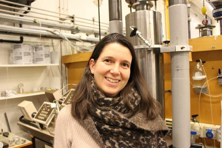 Elin Skurtveit i NGI-laboratoriet, der hun har gjort forsøk med bruddprosesser for sandkorn under ulike reservoarforhold.    (Foto: Dag Inge Danielsen, NGI)