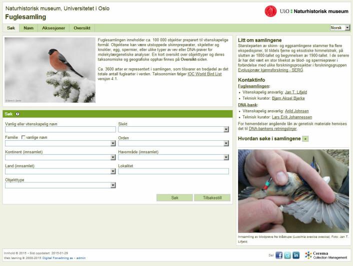 I databasen kan ein søkja mellom anna på navn, familie, innsamlingsstad og objekttype. (Foto: (Skjermdump frå Fuglesamlinga til Naturhistorisk museum))