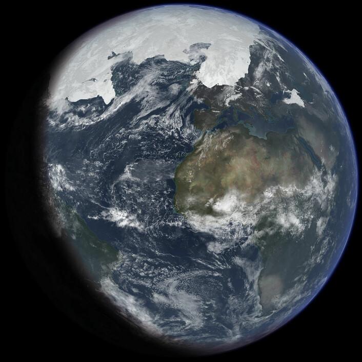 """Slik kan jordkloden ha sett ut da isen hadde sin største utstrekning under den siste istiden. Hele nord-Europa er dekket av is. (Foto: (Bilde: Ittiz/<a href=""""http://creativecommons.org/licenses/by-sa/3.0/"""">CC BY-SA 3.0</a>)"""