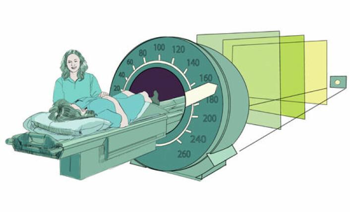 For å kompensere de manglende målingene fra MR-maskinen, må man bruke mer tid på beregningene, ifølge forskeren. (Foto: (Illustrasjon: Knut Løvås))