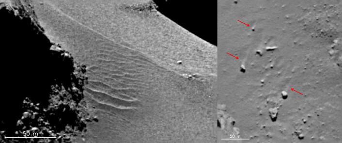 På 67P er det tydelige tegn på at gass fra kometens iskjerne har laget dyner og spor i støvlaget på overflaten. (Foto: ESA/Rosetta/MPS for OSIRIS Team MPS/UPD/LAM/IAA/SSO/INTA/UPM/DASP/IDA)