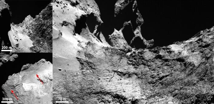 """Den 500 meter lange sprekken i """"nakken"""" på de to delene av kometen 67P. (Foto: ESA/Rosetta/MPS for OSIRIS Team MPS/UPD/LAM/IAA/SSO/INTA/UPM/DASP/IDA)"""