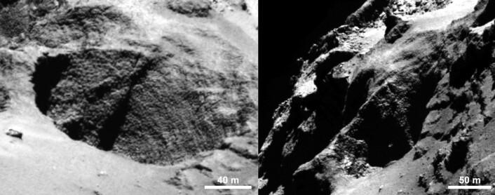 """Enkelte steder på overflaten av 67P er merkelig ruglete og kalles for """"gåsehud"""".  (Foto: ESA/Rosetta/MPS for OSIRIS Team MPS/UPD/LAM/IAA/SSO/INTA/UPM/DASP/IDA)"""