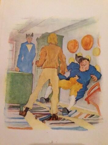 Henrik i nevekamp mot dansk sjømann.   (Foto: (Foto av illustrasjon fra boken, tegning Wilhelm Repsold))