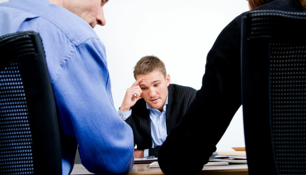 Det er helt normalt å være nervøs på jobbintervju.  (Foto: Colourbox)