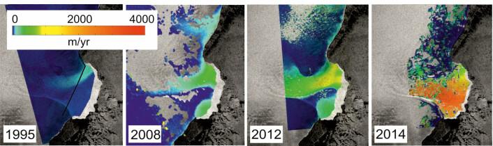 Bildet viser hvor mye raskere isen har begynt å bevege seg i løpet av de siste årene. (Foto: CPOM/GRL)