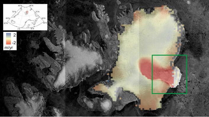 Det røde området viser hvor breen har mistet mye tykkelse i løpet av de siste årene. Man kan også se hvor tungen ender i havet til høyre i bildet. (Foto: CPOM/GRL)