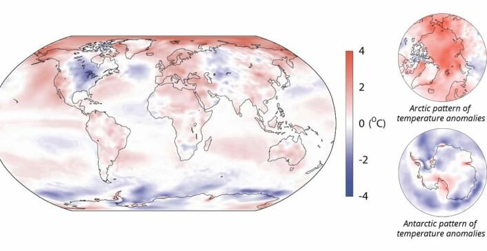 Temperatur (avvik fra normalen) for året 2014, i følge reanalysen fra ECMWF. Varmen i Arktis ble bedre dekket av de klassiske måleseriene enn kulden i Antarktis. (Bilde ECMWF)
