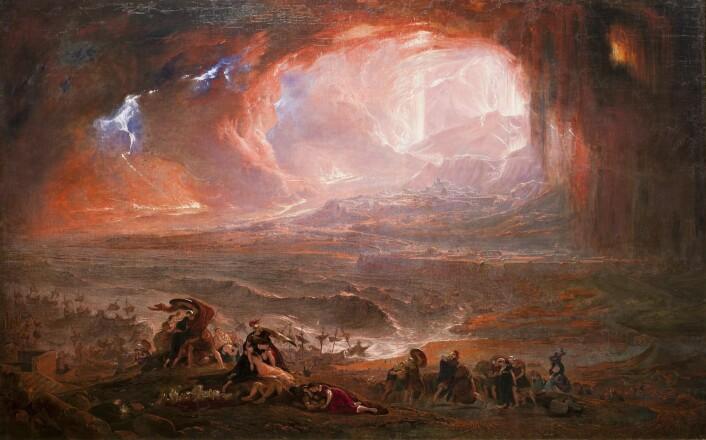 Ødeleggelsen av Pompeii og Herculanuem, slik den britiske maleren John Martin (1789-1854) så det for seg. (Foto: (Bilde: Offentlig eiendom))