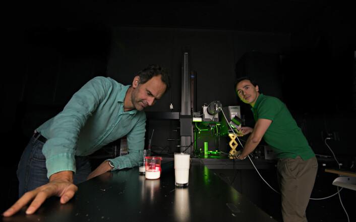 Jens Petter Wold og Diego Airado-Rodriguez studerer fotosensitive fargestoffer for å finne ut hvordan vi skal hindre at melka blir dårlig.  (Foto: Nofima)