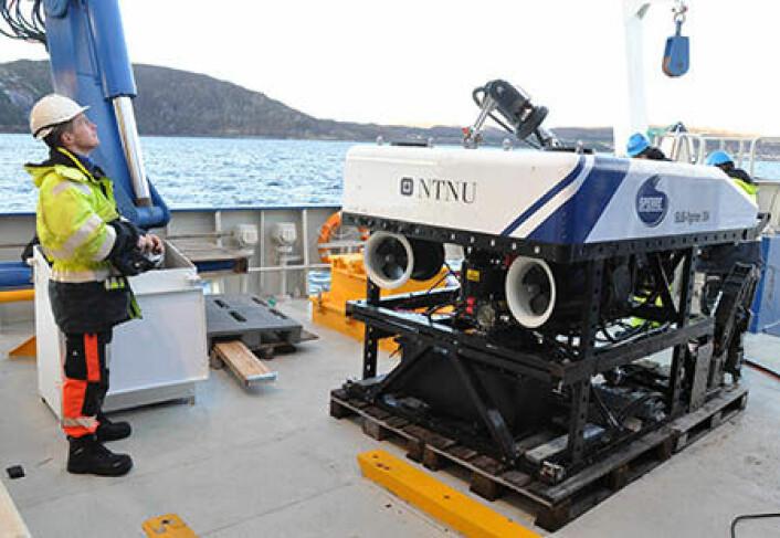 """Driftsleder Svenn Ove Linde på FF """"Gunnerus"""" sender undervannsfarkosten ned i dypet i Trondheimsfjorden. (Foto: NGU)"""