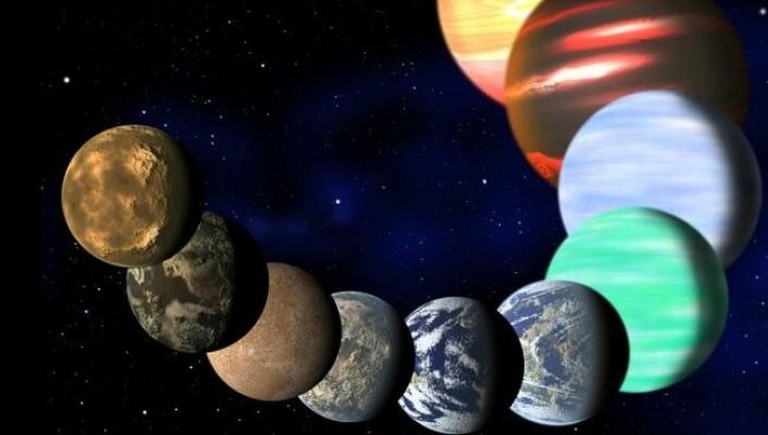 Illustrasjonen viser ulike planettypar som er funne med NASAs Keplertelesskop. (Foto: (Illustrasjon: C. Pulliam & D. Aguilar, Harvard-Smithsonian Center for Astrophysics))