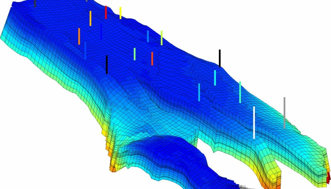 Simulering av trykkfordeling i Nornefeltet utenfor Helgeland. For å simulere utvinning av hydrokarboner, deler forskerne reservoaret inn i celler, og beskriver hvordan oljen flytter seg fra celle til celle. (Illustrasjon: Sintef)