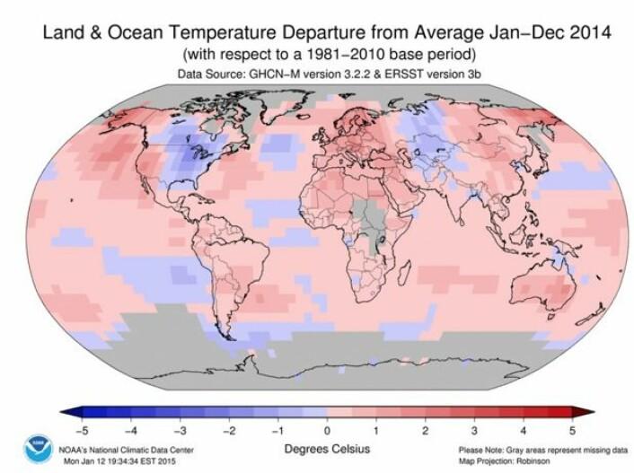 Slik var temperaturen i 2014 (avvik fra normalen), i følge NOAA. Det kom tunge bidrag til varmerekorden fra bl. a. Europa/Nord-Afrika, Nordøstlige Stillehavet, Alaska/Øst-Sibir, og Australia. (Bilde: NOAA)