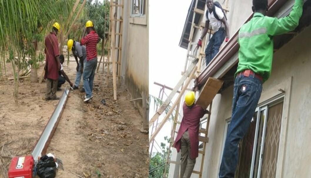Lokale arbeidere blir opplært til montering og drifting av systemene. Å skape arbeidsplasser og gi opplæring, er en viktig del av prosjektet. (Foto: Sintef)