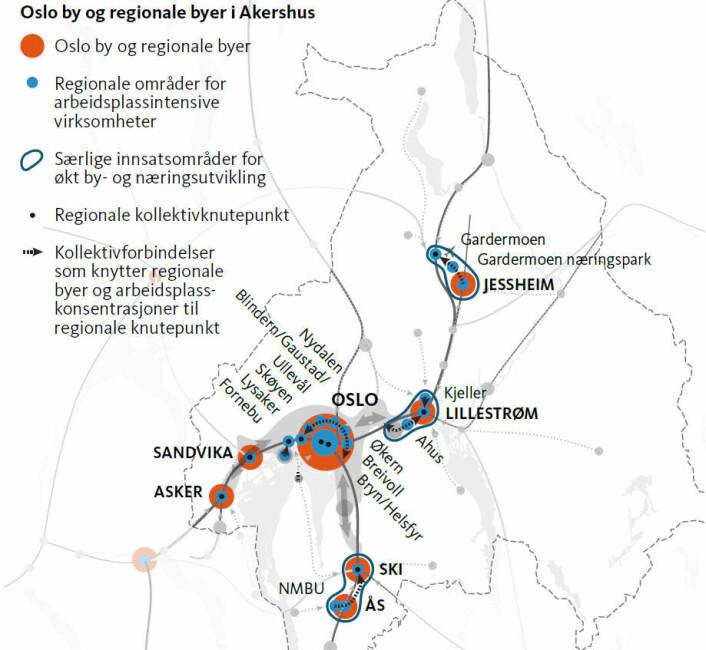Slik ligger de nye regionbyene rundt Oslo.  (Foto: (Kart: Plansamarbeidet Oslo-Akershus))