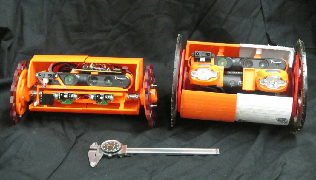 Volcanobot 2 og Volcanobot 1. De er ikke store og sterke, men de skal dykke ned i vulkanene. (Foto: NASA/JPL-Caltech)