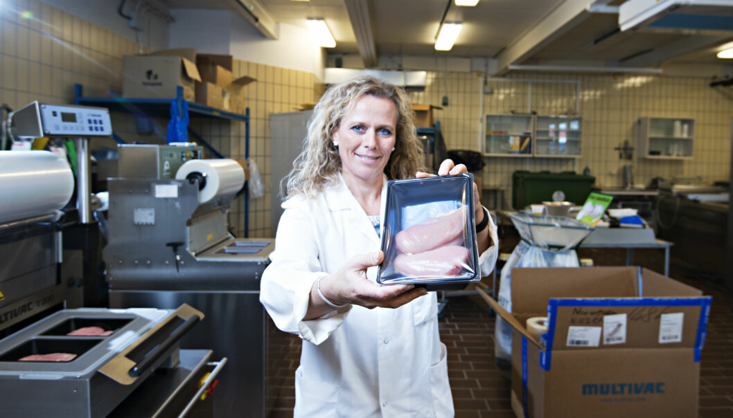 Forsker Marit Kvalvåg Pettersen ved Nofima prøver å finne riktig emballasje til kyllingen. (Foto: Nofima)