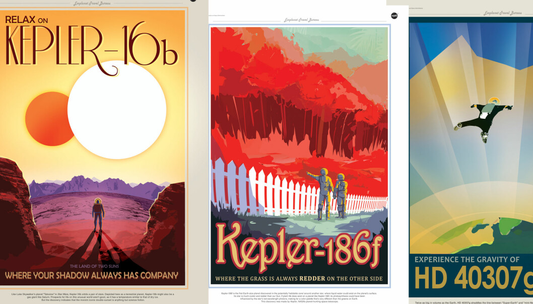 Reisebyråplakatene til NASA, som ligner på reklameplakater fra 1930- og 40-tallet.  (Foto: NASA/collage)