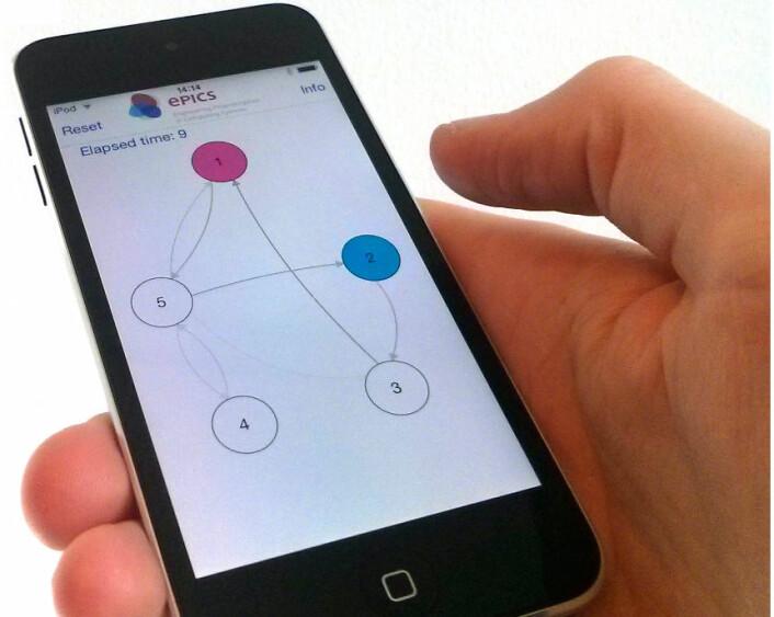 Appen Pheromusic gir brukeren mulighet til å blande musikkfraser ved å trykke på sirkler. Appen lærer hva brukeren liker, og kan også styres ved at brukeren beveger seg. Appen er en del av et større europeisk prosjekt, EPiCS, der Institutt for informatikk ved Universitetet i Oslo deltar. (Foto: (Skjermdump: Jim Tørresen, Institutt for informatikk, Universitetet i Oslo))