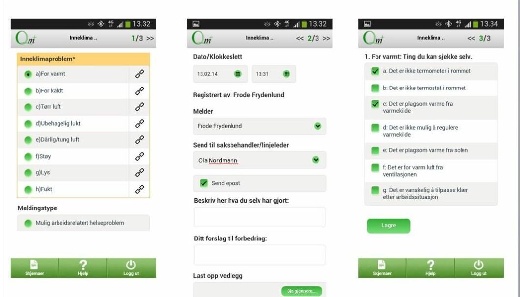 Den nyutviklede norske inneklima-appen gir brukerne forslag til ting de kan sjekke selv, hvis de finner deler av innemiljøet på jobben sjenerende. (Illustrasjon: Sintef)