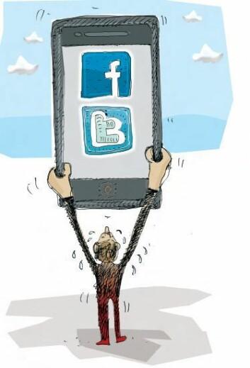 Frykten for å hamne utanfor gjer at du heile tida er logga på, anten det er for å lese e-post eller sjekke oppdateringar på sosiale medium. (Foto: (Illustrasjon: Øyvind Lothe, NHH))