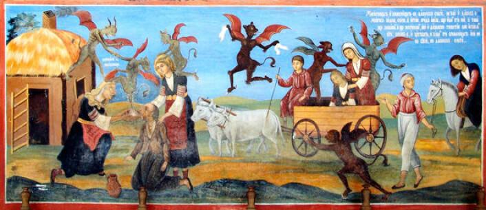 Bildet viser en detalj av et maleri fra Rila kloster, Bulgaria. (Illustrasjonsfoto: Wikipedia)