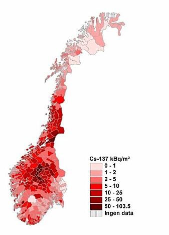 Kartet viser nedfall av cesium-137 (kilo becquerel per kvadratmeter) over Norge i 1986. Klikk på kartet for å se større versjon. (Foto: (Grafikk: Statens strålevern))