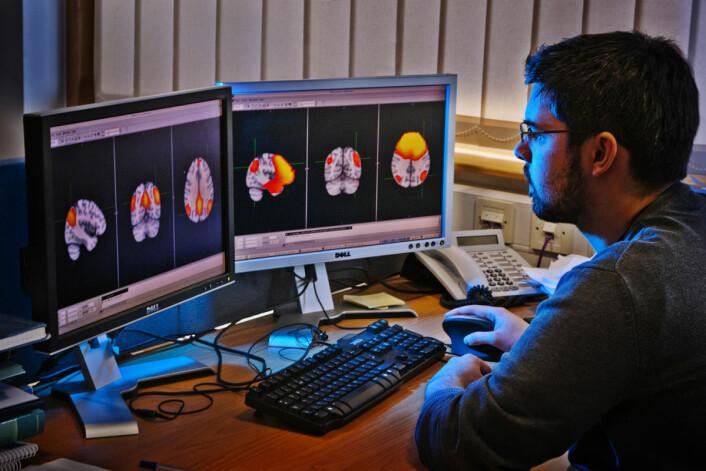 Forsker arbeider med hjernebilder skannet med funksjonell magnetresonans (fMRI) på venstre skjerm og magnetoencephalografi (MEG) på høyre skjerm. Begge bilder viser hjernen i hviletilstand. (Foto: Science Photo Library)