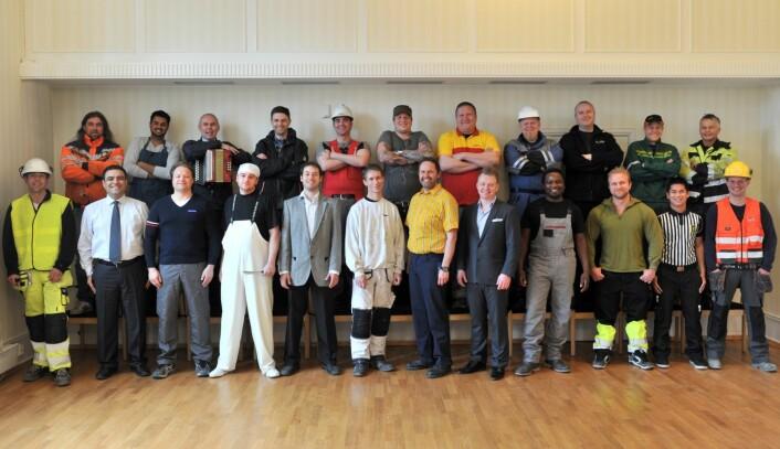 Tidligere anleggsarbeidere, selgere, gartnere, mekanikere og andre yrker. Alle disse er nå med i prosjektet. (Foto: Carl-Erik Eriksson, Trondheim kommune)