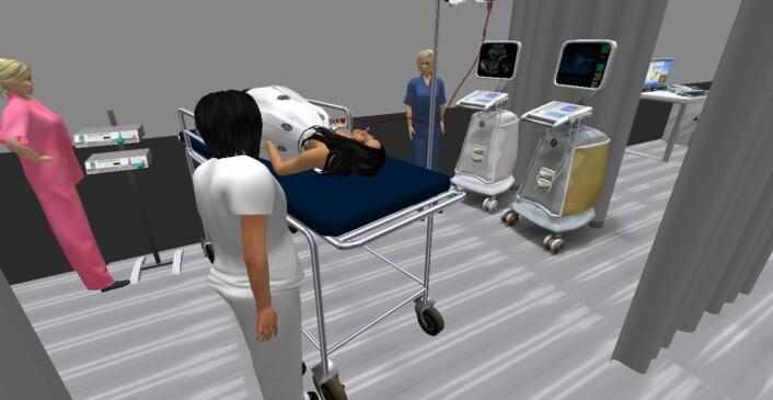 Oculus Rift kan brukes for å trene helsepersonell i å håndtere akuttsituasjoner. Programmet er under utvikling. (Foto: (Illustrasjon: Ekaterina Prasolova-Førland, NTNU))