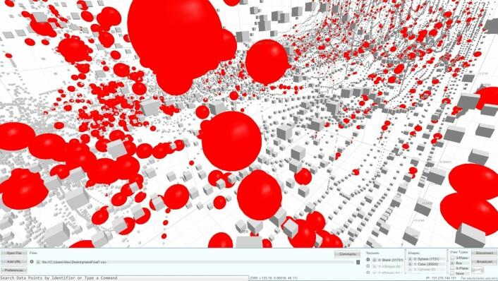 Dette er de første visualiseringene av data fra rottene i Mosers laboratorium. Rødt er der gridceller gir stort utslag. (Foto: (Illustrasjon: C. Donalek og S.G. Djorgovski, Center for Data-Driven Discovery, Caltech))