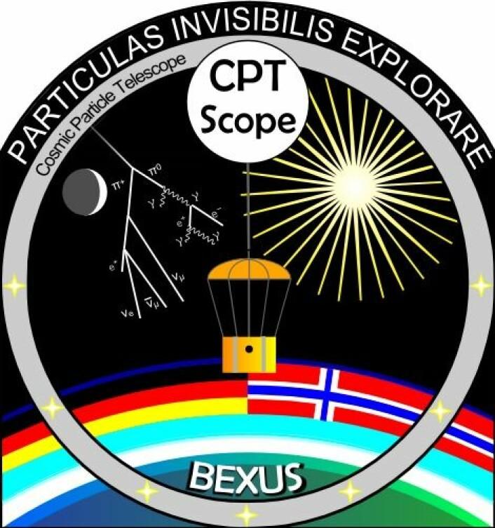 Logoen til CPT-SCOPE, studentgruppen ved NTNU som skal forske på høyenergetiske partikler i atmosfæren ved hjelp av forskningsballong. (Foto: CPT-SCOPE)