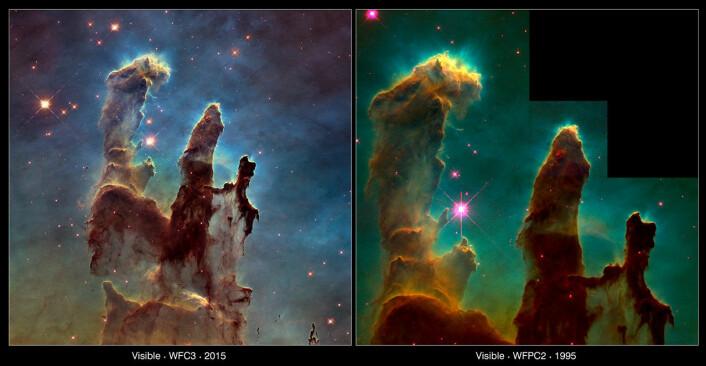 Det nye bilde og det gamle bilde ved siden av hverandre. Bildet til høyre ble tatt i 1995. (Foto: NASA, ESA/Hubble and the Hubble Heritage Team/NASA, ESA/Hubble, STScI, J. Hester and P. Scowen (Arizona State University) )