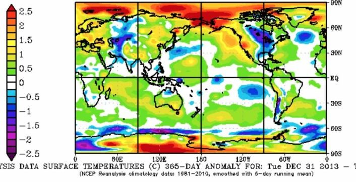 Reanalysert avvik fra temperaturnormalen (1981-2010) for 365 døgn f.o.m. 31 des 2013 t.o.m. 30 des 2014. (Bilde: NOAA).
