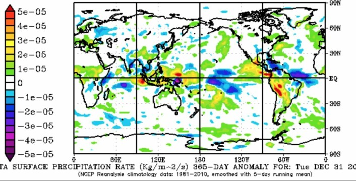 Reanalyse av nedbørsmengden i 2014 (avvik fra normalen 1981 - 2010). (Bilde: NOAA).