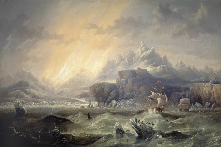HMS Erebus og HMS Terror i ishavet, slik kunstneren John Wilson Carmichael fremstilte det i 1847, to år etter forsvinningen. (Foto: Wikimedia Commons. Bildet er offentlig eiendom)