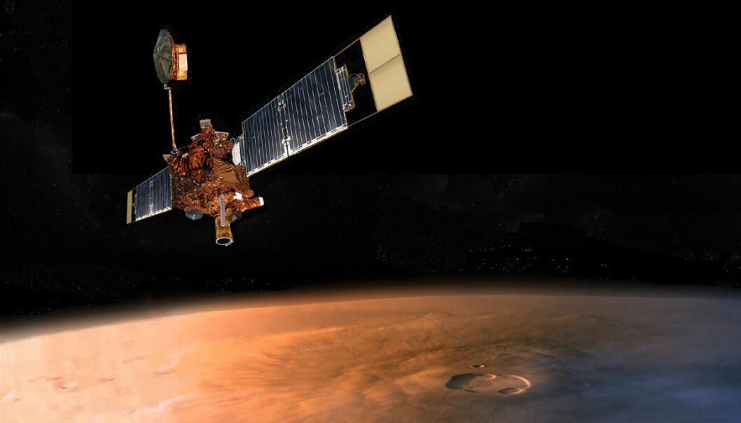 Mars Global Surveyor er en av flere sonder som er sendt til planeten Mars. Ferden gikk langs en bane som krever mer drivstoff og mer presis innsikting enn den nye og økonomiske banen som er utviklet av to italienske forskere. (Illustrasjon: NASA)