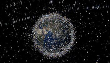 Tusenvis av satellitter er i bane rundt jorden, men de fleste har gått ut av bruk.  (Illustrasjon: ESA)