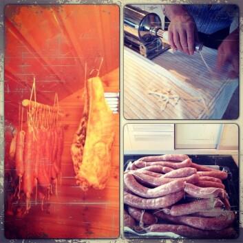 Å lage, modne og spise pølser er tradisjon hjemme hos Eikevik.  (Foto: Rikke Eikevik)