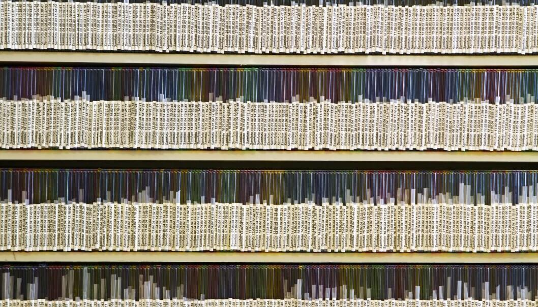 Hylle med CDer med høyoppløselige bildefiler. (Foto: Scanpix, Espen Bratlie)