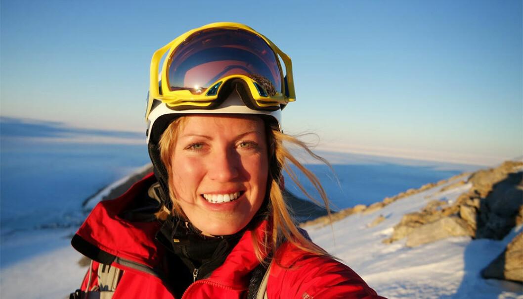 Marit Øvstedal på plass i Antarktis. (Foto: Marit Øvstedal, Norsk Polarinstitutt)