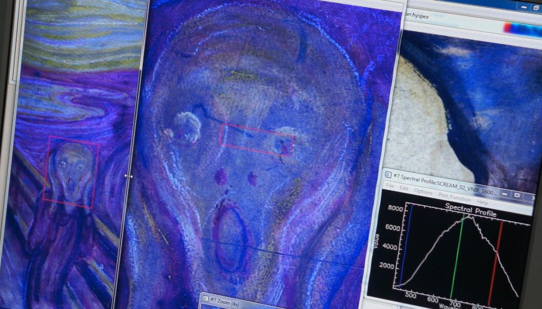 Når noen få av flere hundre fargetoner i maleriet Skrik av Munch framheves, trer detaljer fram som ikke er synlig for et vanlig kamera eller for øyet. (Foto: Arnfinn Christensen, forskning.no)