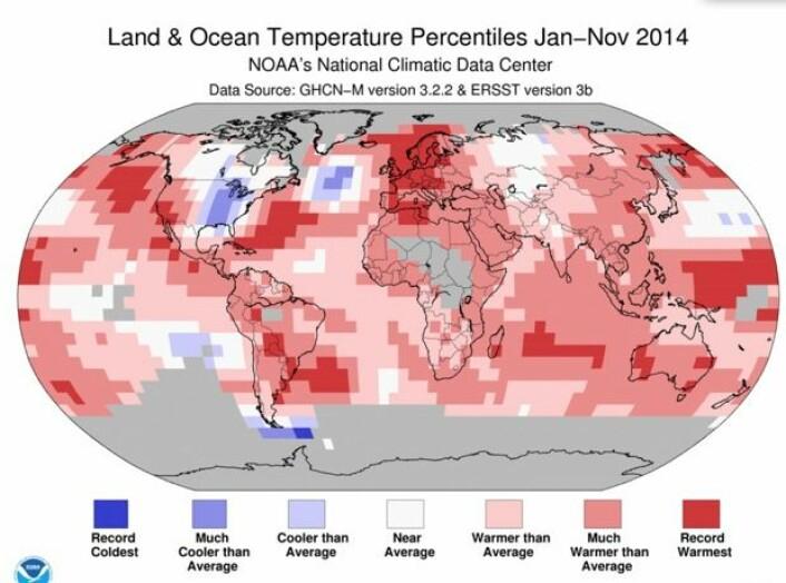 Mørk rød farge viser hvor temperaturen så langt i år har vært rekordvarm. (Bilde: NOAA)