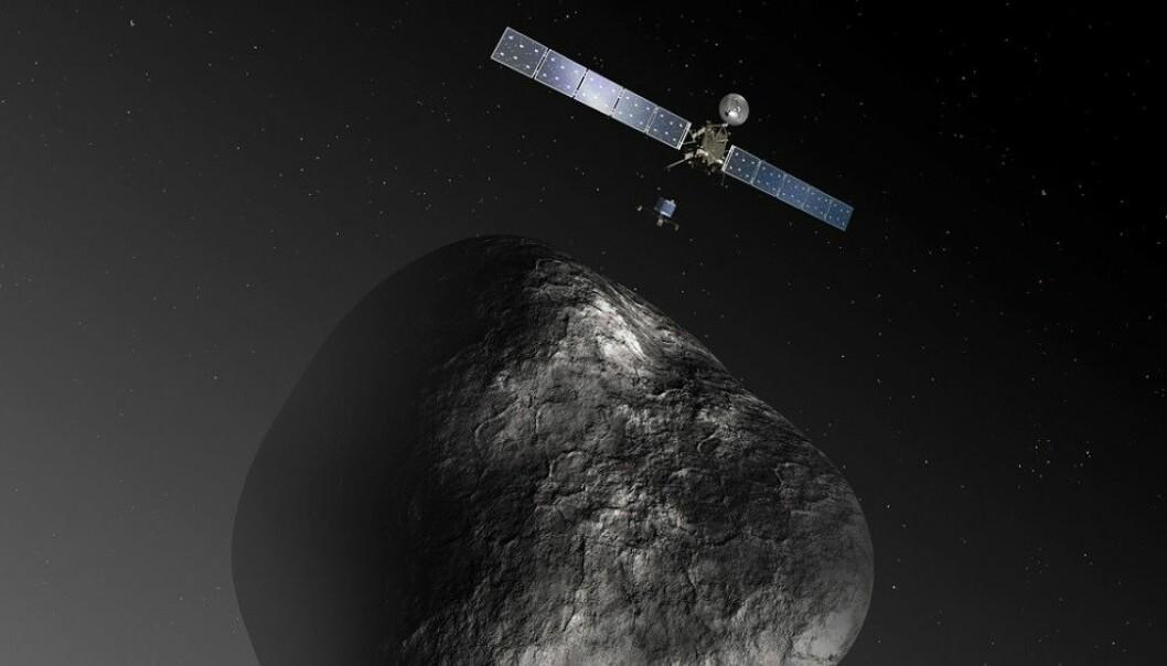 Landeren Philae har for lengst tatt kvelden, men Rosetta går fortsatt i bane rundt komet 67P. (Illustrasjon: NASA)